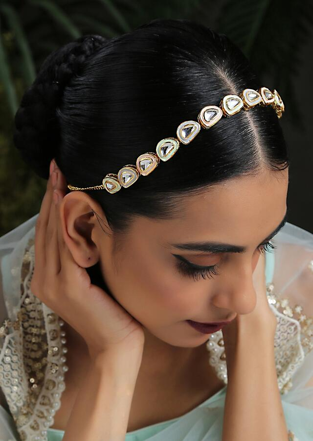 Pink And Gold Headband With Kundan Work In A Semicircular Timeless Classic Design By Paisley Pop