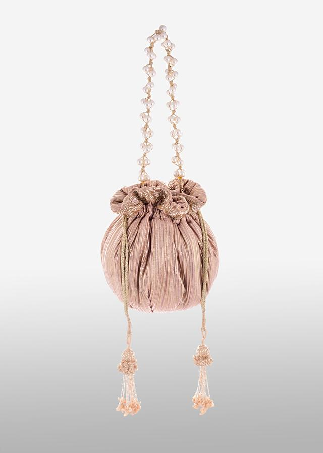 Pink And Gold Potli Bag In Silk With Woven Golden Stripes And Cut Dana Embroidery Online - Kalki Fashion
