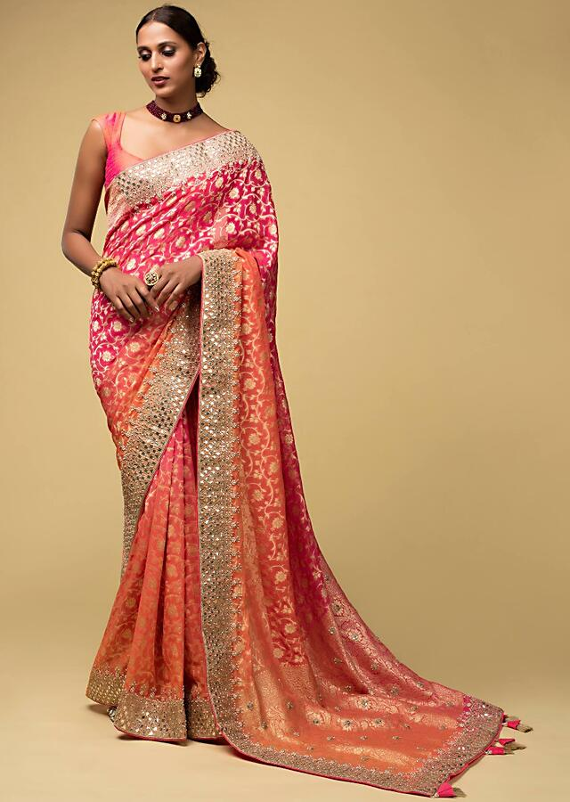 Pink And Orange Shaded Banarasi Saree In Georgette With Weaved Floral Jaal And Embroidered Border Online - Kalki Fashion