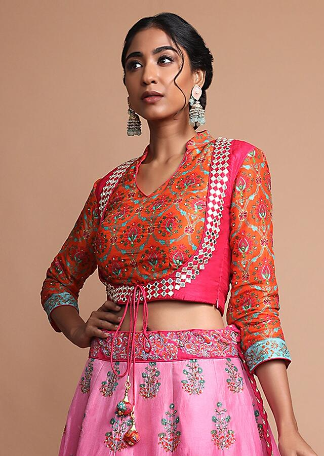 Pink And Orange Shaded Lehenga With Floral Printed Buttis And Sequins Highlights Online - Kalki Fashion