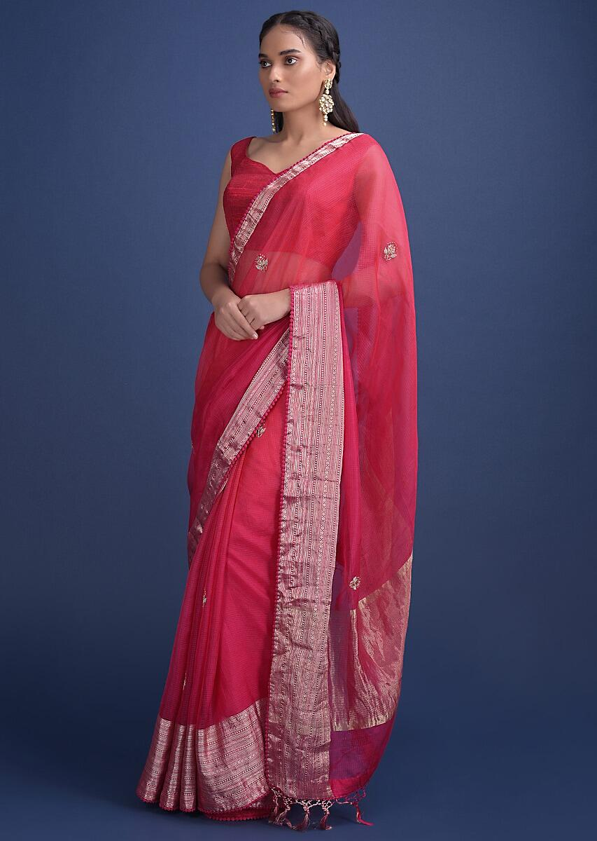 Pink And Orange Shaded Saree In Chanderi Silk With Embroidered Floral Buttis Online