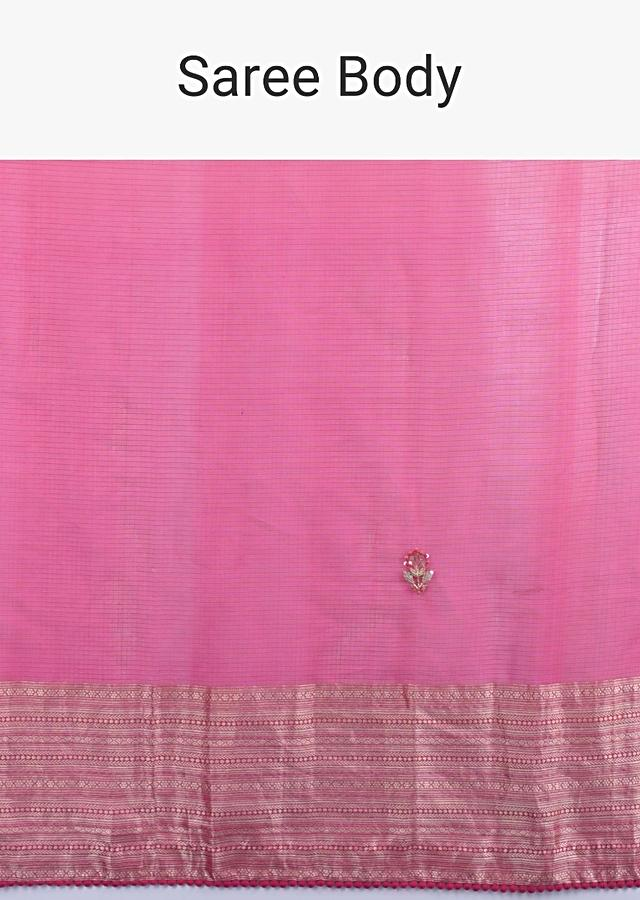Pink And Orange Shaded Saree In Chanderi Silk With Embroidered Floral Buttis Online - Kalki Fashion