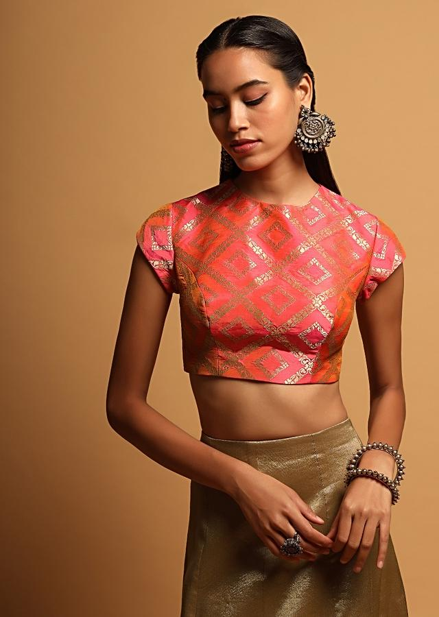 Pink And Orange Two Toned Blouse In Brocade Silk With Woven Mesh Design And Cap Sleeves Online - Kalki Fashion