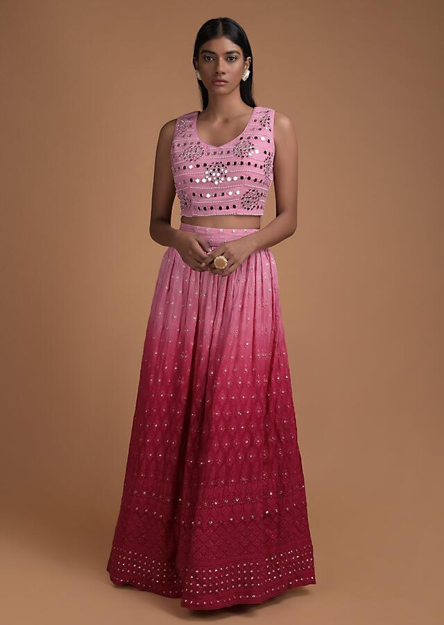 Pink And Red Ombre Lehenga In Georgette With Lucknowi Work And Crop Top With Abla Work Online - Kalki Fashion