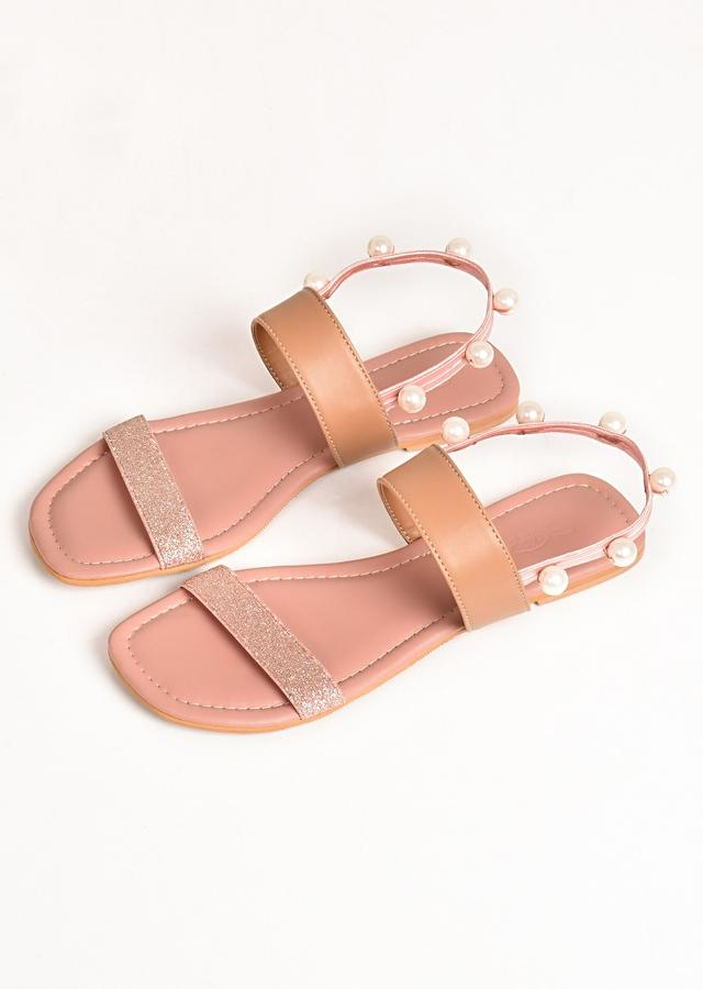 Pink And Rose Gold Ankle Strap Flats With Glitter And Pearls By Sole House