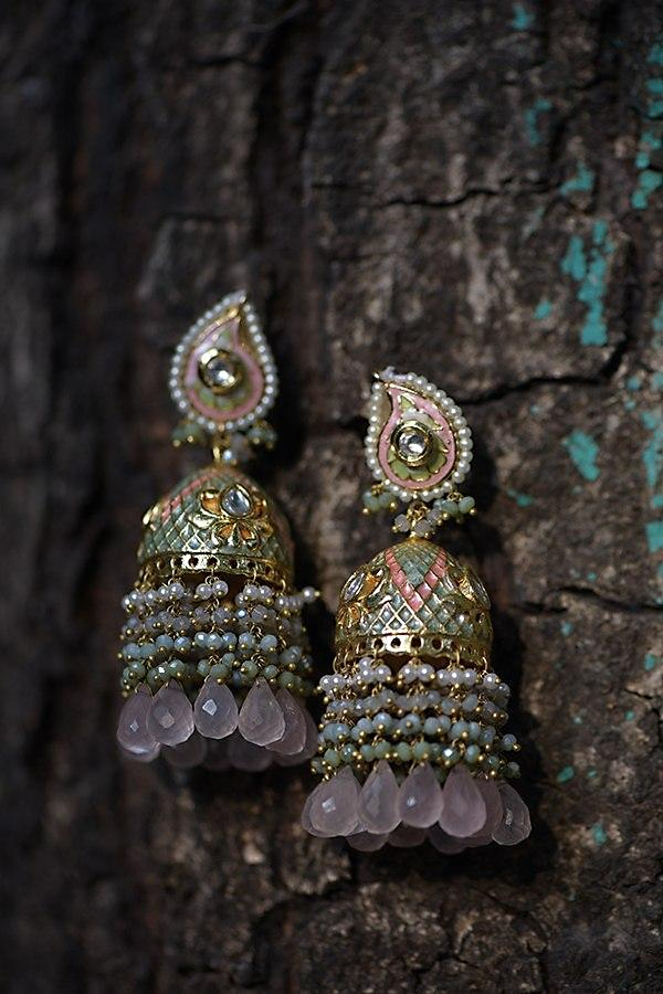 Pink And Turq Jhumkas With Carved Checks And Lotus Motifs With Colorful Beads And Pearl Fringes Kohar By Kanika