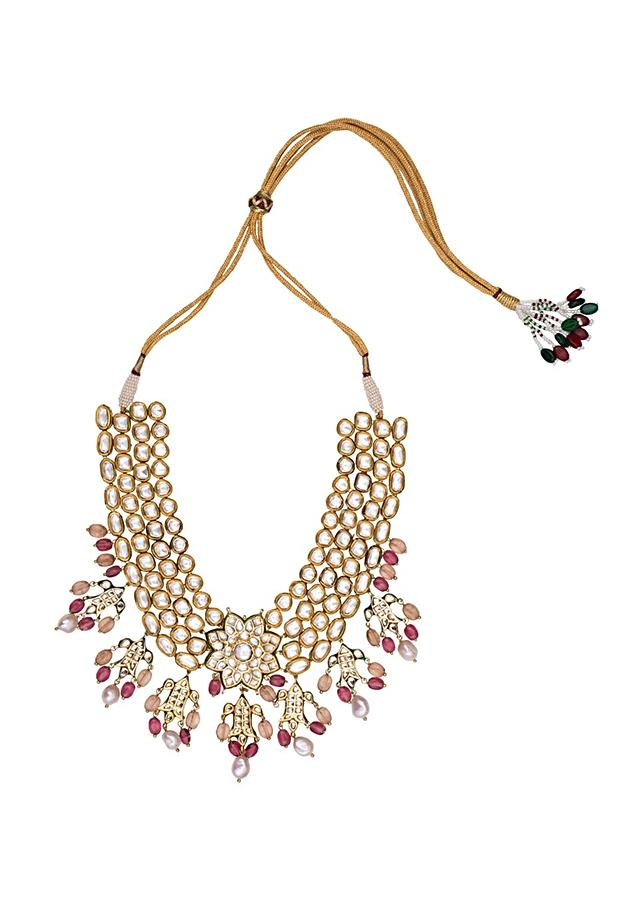 Pink and White Gold Tone Wedding Necklace Set Joules By Radhika