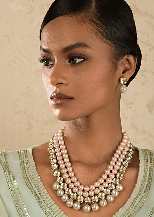 Pink And White Pearl Necklace And Earrings Set With Kundan Work Online - Joules By Radhika
