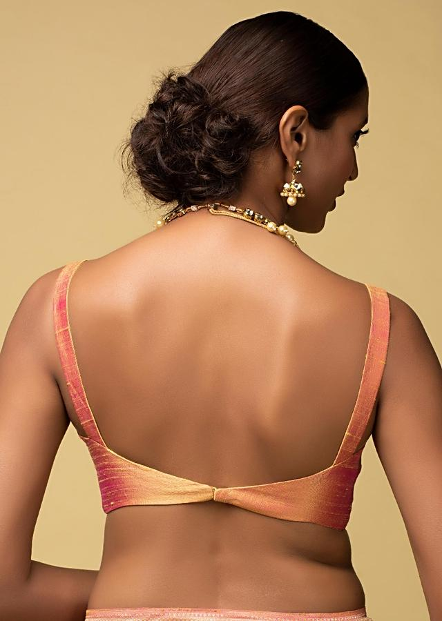 Pink And Yellow Two Toned Blouse In Raw Silk With Plunging Neckline Online - Kalki Fashion