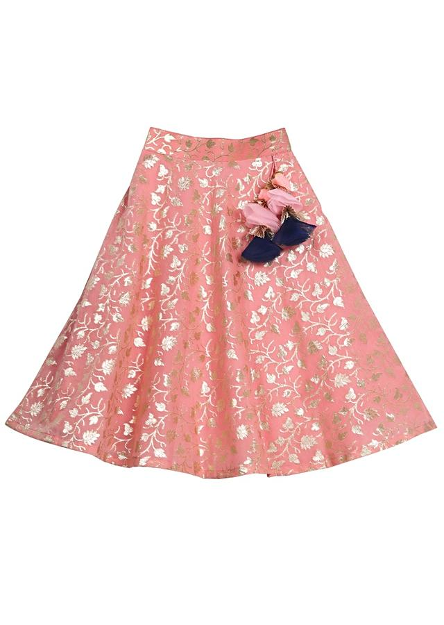 Pink Banarasi Lehenga And Navy Blue Crop Top With Cape Sleeves And Peter pan Collar Online - Free Sparrow