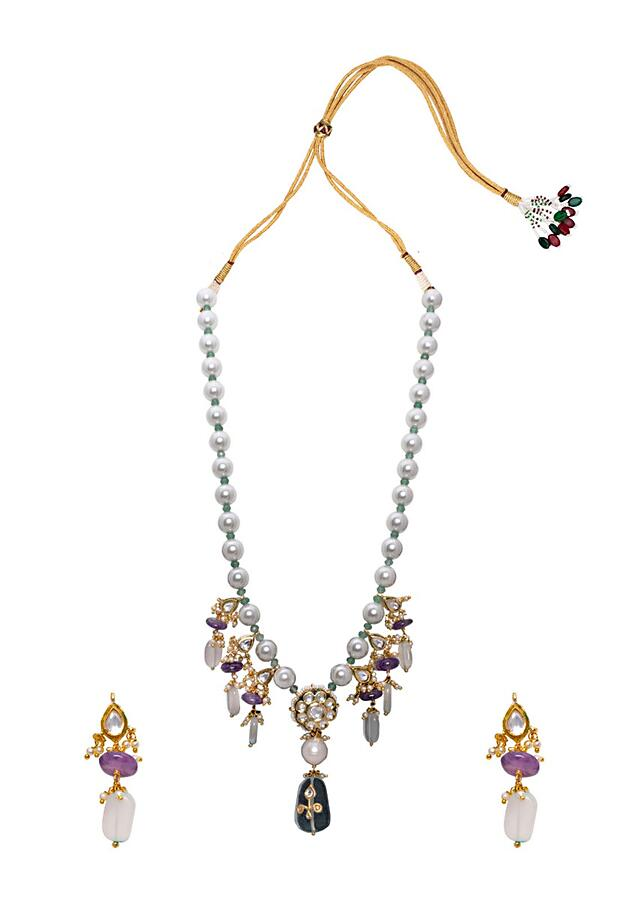 Pink Rose Quartz Necklace Set With Pearl String And Adorned In Delicate Fluorides and Agate Beads Joules By Radhika