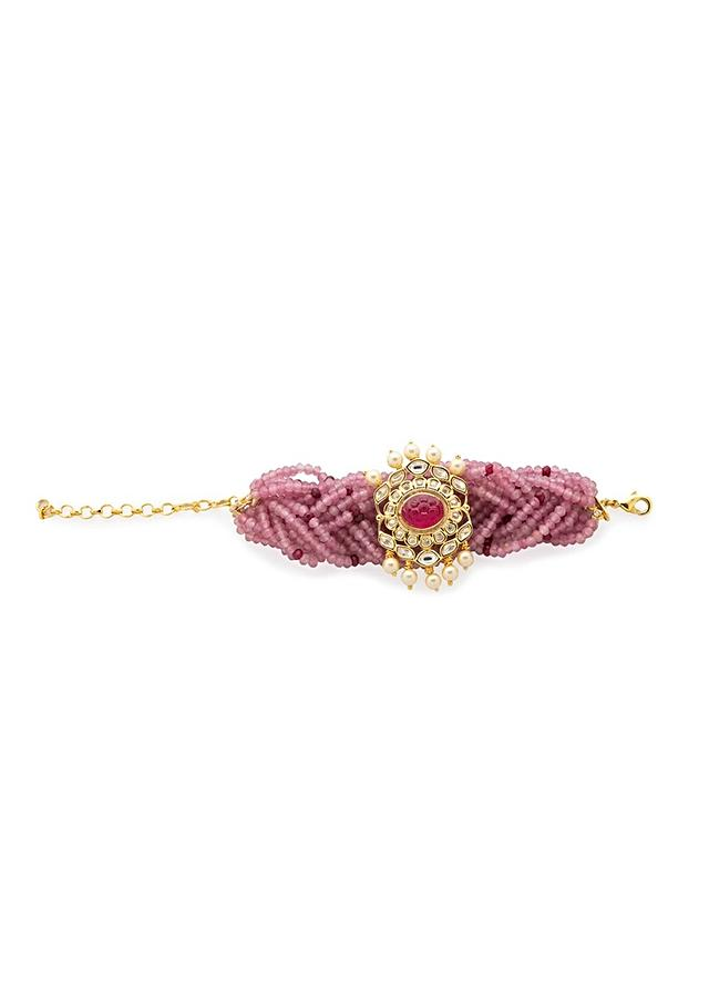Pink Braided Agate Strings Bracelet With Hydro Kundan Polki, Shell Pearls And Carved Red Hydro Ruby In The Centre Online - Joules By Radhika