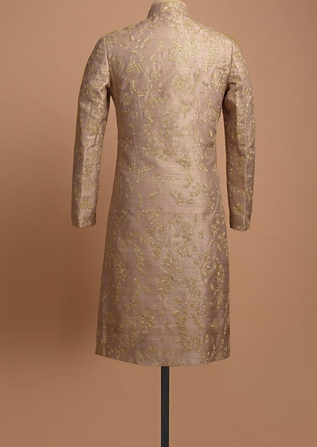 Pink Champagne Shervani In Raw Silk With Cord And Zari Embroidered Floral Jaal Pattern Online - Kalki Fashion