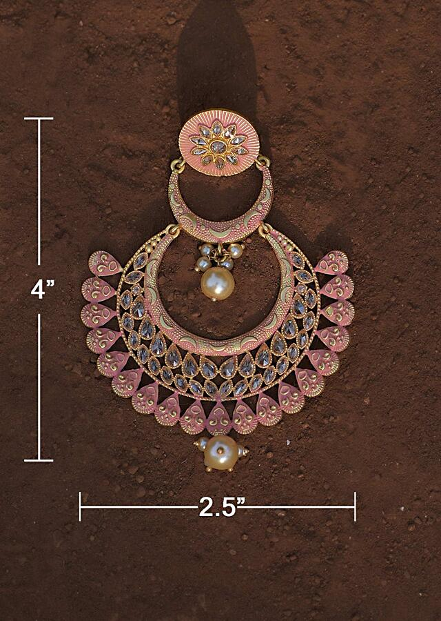 Pink Chandbalis With Carved Pattern And Studded With Crystals And Dangling Pearls Online - Kalki Fashion