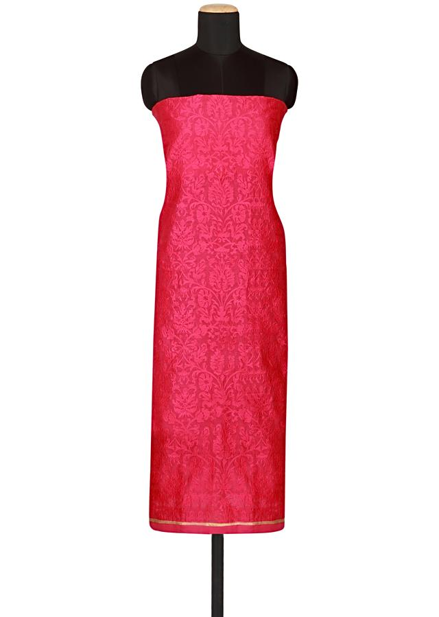 Pink chanderi silk un-stitched salwar kameez embellished in thread embroidery  only on Kalki