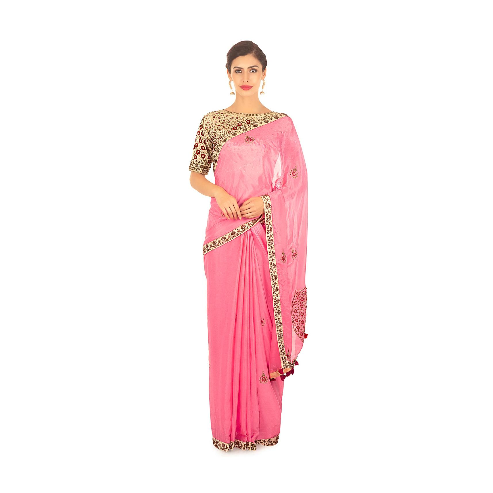 0b09efa34bb05 Pink chiffon embellished saree paired with cream raw silk blouse only on KalkiMore  Detail