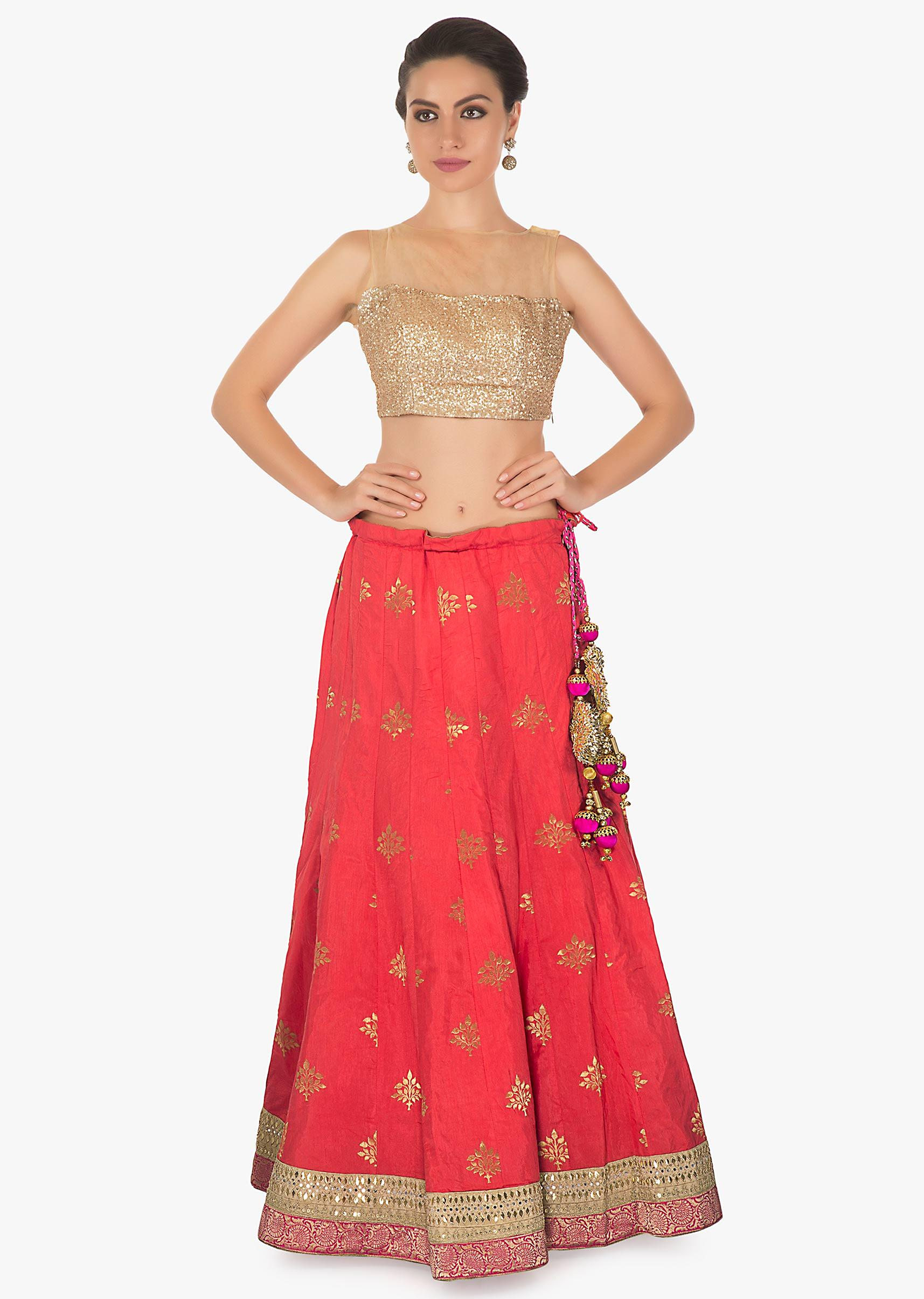 0c215f5f65 Pink coral cotton silk lehenga with pink brocade dupatta only on KalkiMore  Detail