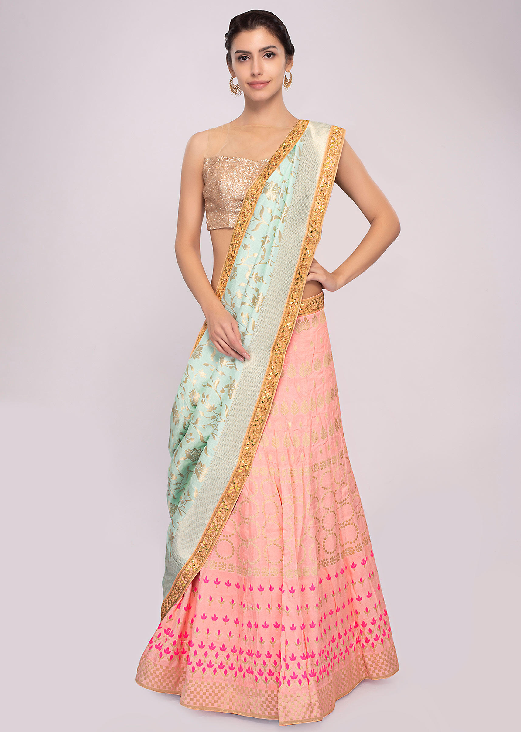 689c2df4fe19c7 Pink cotton silk weaved lehenga with mint green dupatta and unstitched  powder pink blouse only on KalkiMore Detail
