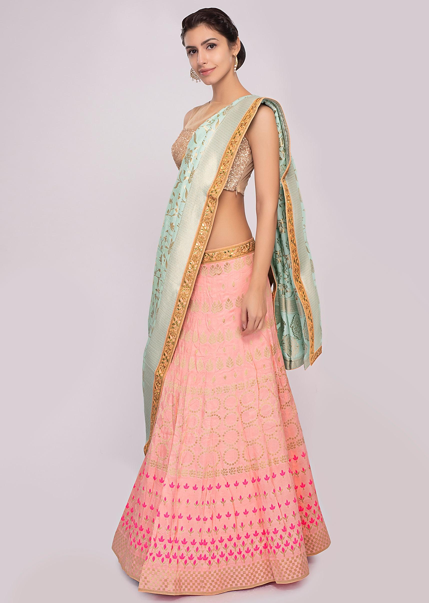 ad874238b Pink cotton silk weaved lehenga with mint green dupatta and unstitched  powder pink blouse only on Kalki