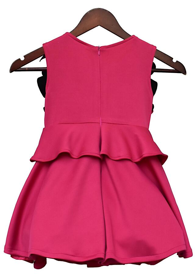 Pink Dress In Scuba With Ruffled Bodice By Fayon Kids