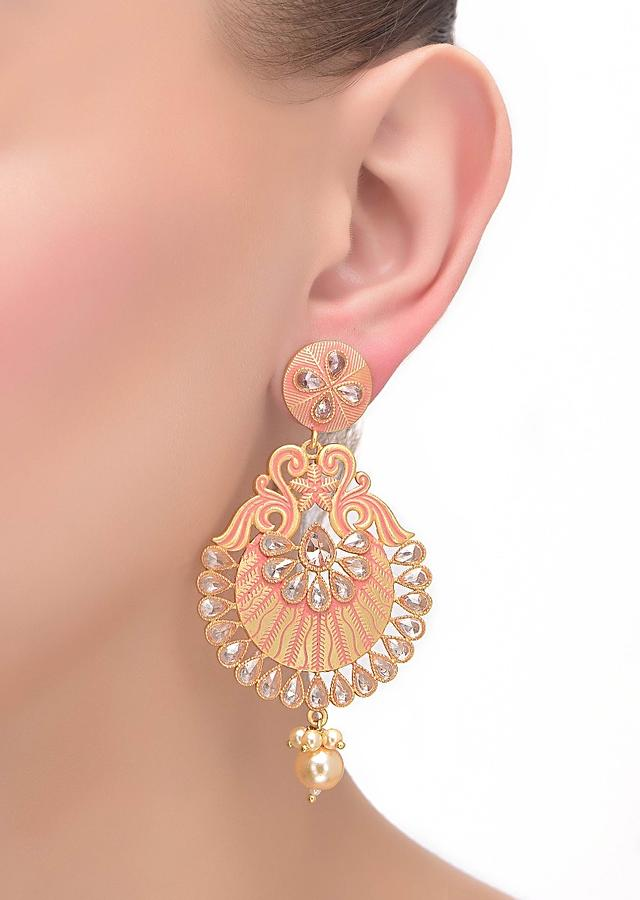 Pink Earrings With Bird And Floral Motif Adorned With Crystals And Pearls Online - Kalki Fashion