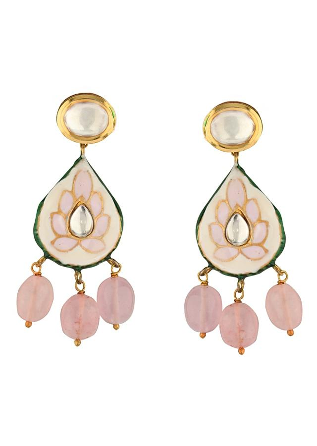 Pink Enamelled Necklace And Earrings Set With Kundan, Jades And Rose Quartz Drops Online - Joules By Radhika