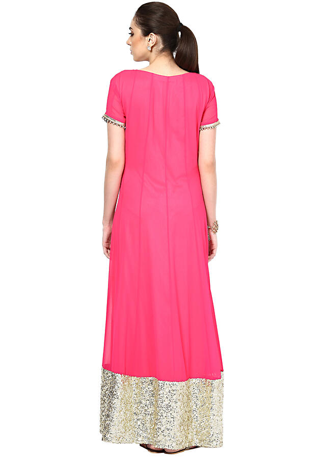 Pink floor length anarkali suit embellished in sequence