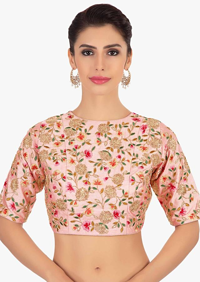 Pink Blouse In Raw Silk With Floral Embroidery Online - Kalki Fashion