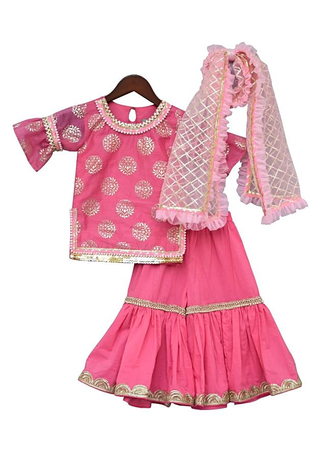 Pink Kurti With Foil Print Paired With Sharara And Gotta Embroidered Dupatta by Fayon Kids