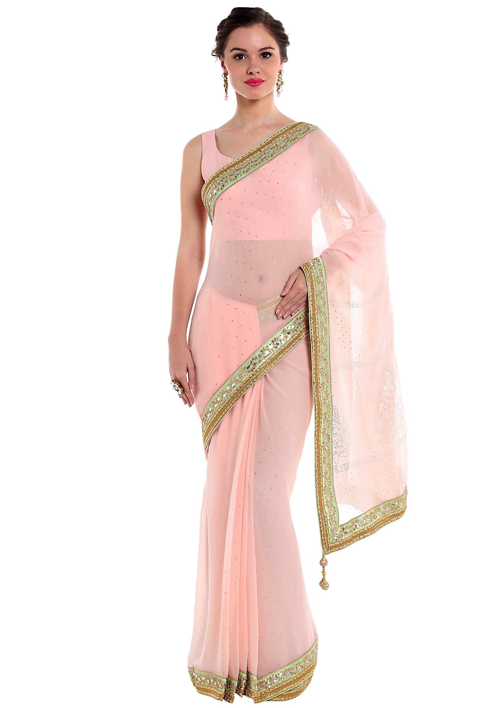 4df80599d2d3a Pink georgette saree styled with gotta patch embroidery only on KalkiMore  Detail