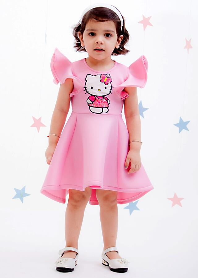 Pink Hello Kitty Dress In Scuba Fabric With Ruffle Sleeves By Fayon Kids