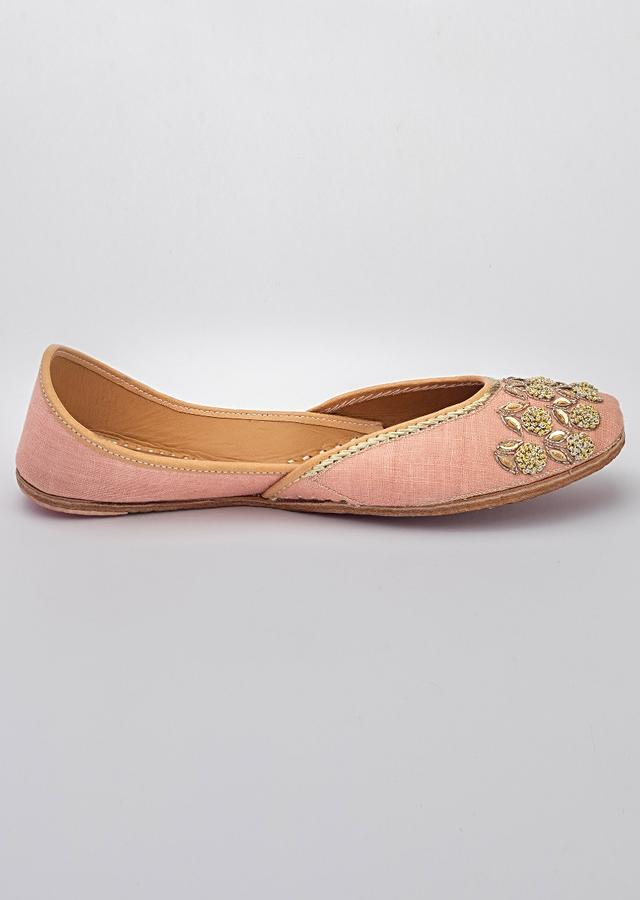 Pink Juttis In Linen With Golden French Knot Flowers And Zari Leaves By Vareli Bafna