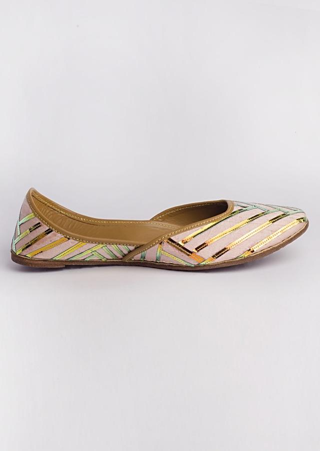Pink Juttis In Raw Silk Adorned In Holographic Pu Applique In Geometric Motifs By Vareli Bafna