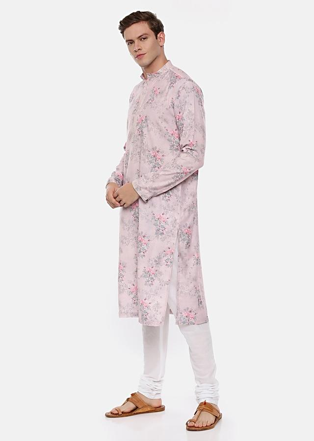 Pink Kurta Set In Linen With Floral Print By Mayank Modi