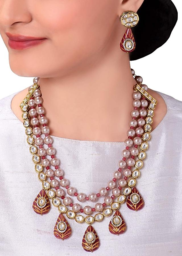 Pink Layered Necklace Set With Red Enamelling, Kundan And Shell Pearls Online - Joules By Radhika