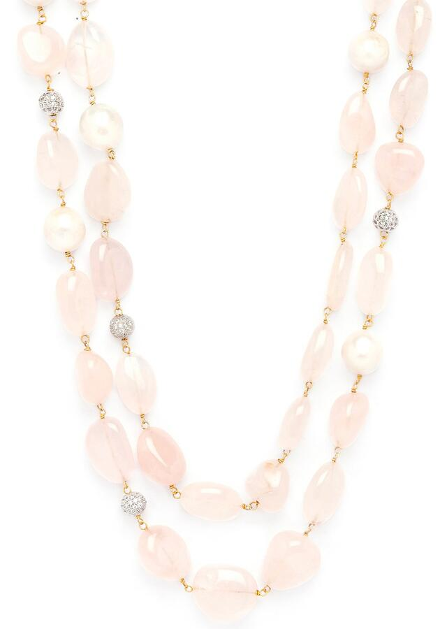 Pink Layered Necklace With Crystals, Baroque Pearls And Rose Quartz Tumbles Online - Joules By Radhika