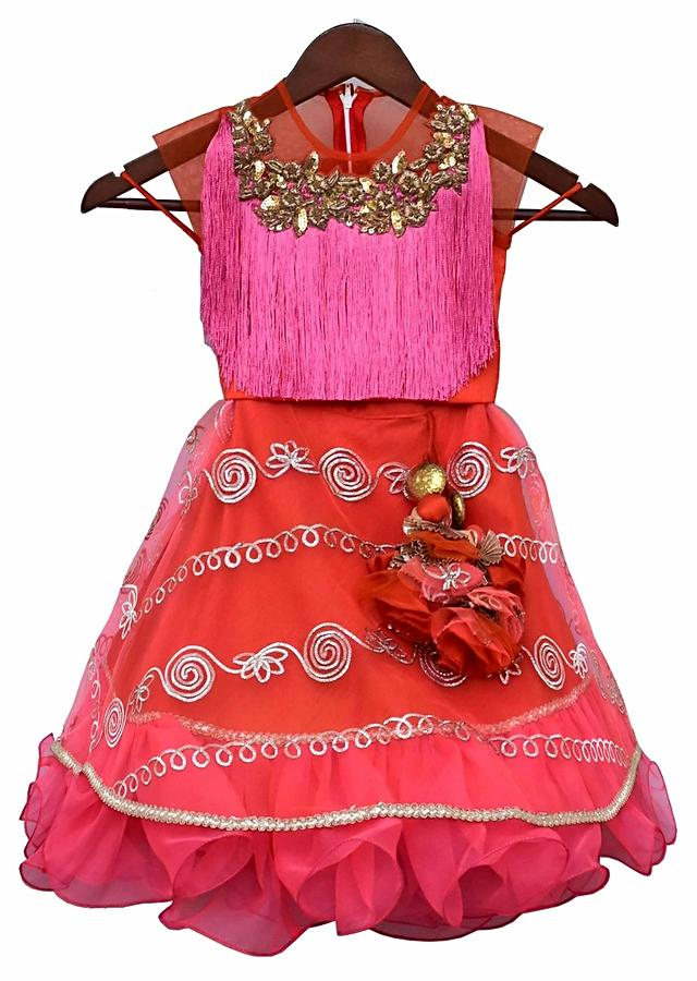 Pink Lehenga And Crop Top With Gotta Work And Thread Fringes By Fayon Kids