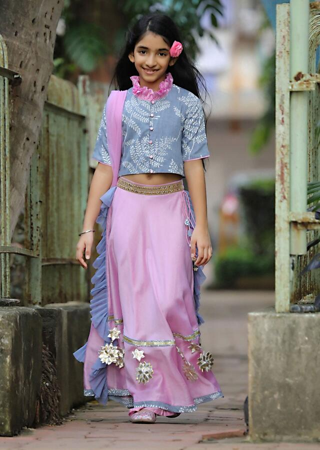 Pink Lehenga And Grey Crop Top Set With Gotta Work And Frill On The Sides Online - Free Sparrow