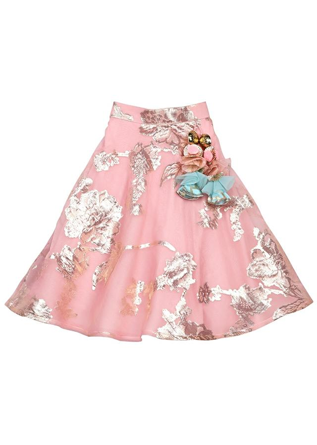 Pink Lehenga In Pure Foil Organza With Ruffle Dupatta And Blue Brocade Top Online - Free Sparrow