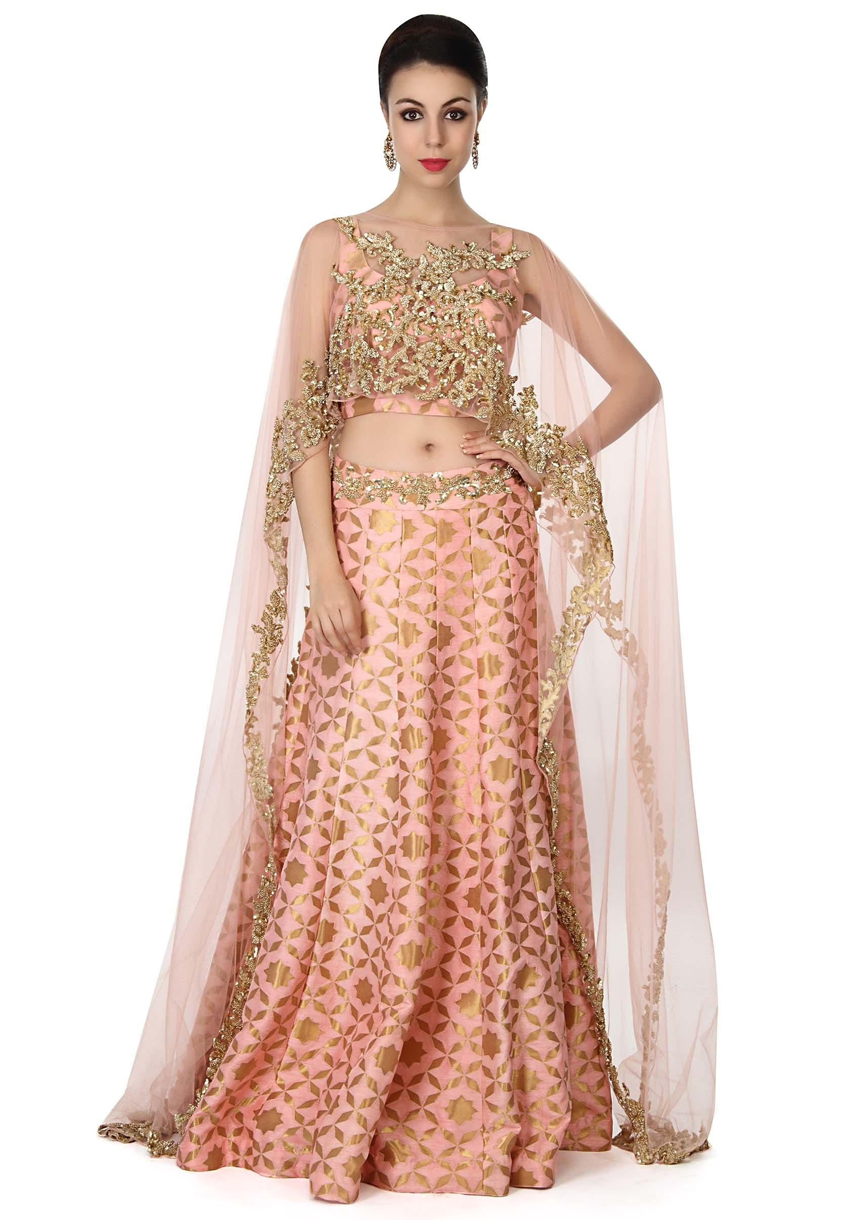 b1533acd77 Pink lehenga with sequin embroidered cape only on KalkiMore Detail