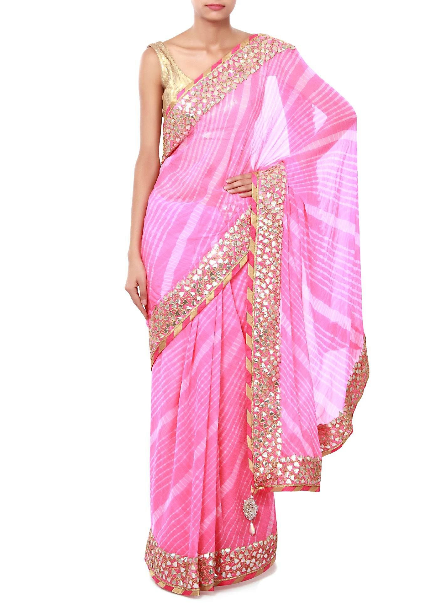 0ab6e4481e08b Pink leheriya saree adorn in gotta patch embroidery only on KalkiMore Detail