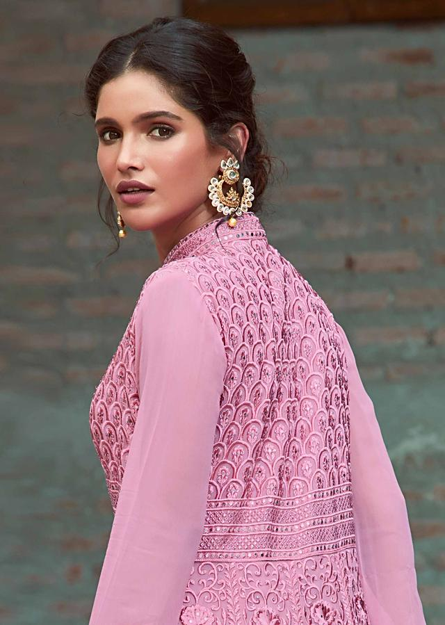 Pink Anarkali With Lucknowi Thread Embroidery In Floral And Scale Motif Online - Kalki Fashion