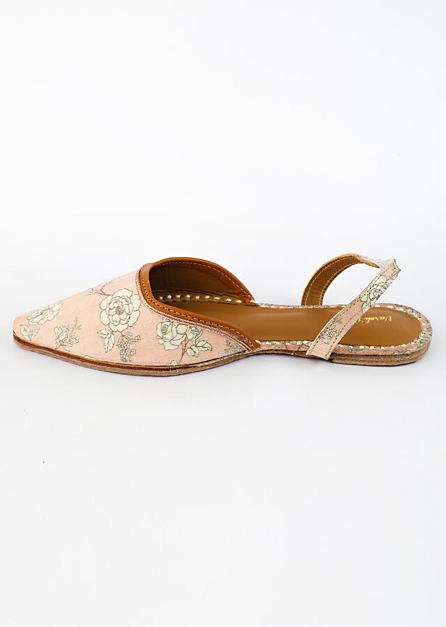 Pink Mules With Back Strap Adorned In Floral Print And Rose Gold Braided Zari By Vareli Bafna