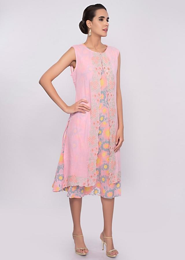 Pink Tunic Dress With Multi Color Floral Print And Matching Cotton Jacket Online - Kalki Fashion