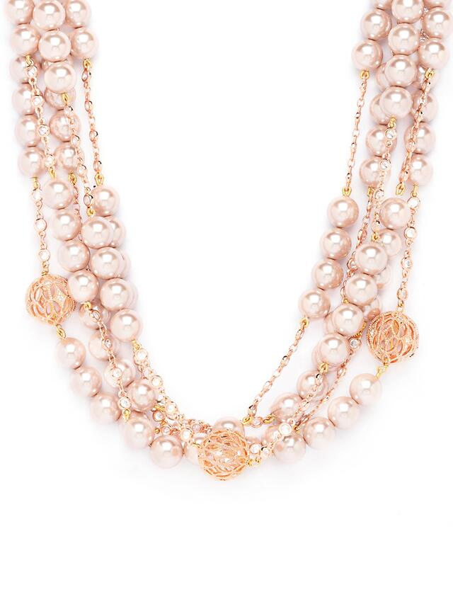 Pink Multi-layered Necklace With Agate Beads, Swarovski And Shell Pearls Online - Joules By Radhika
