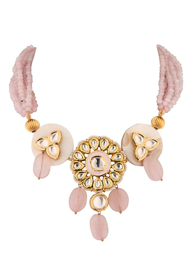 Pink Necklace And Earrings Set With Kundan Flower Pendant, Rose Quartz Drops And Mother Of Pearl Online - Joules By Radhika
