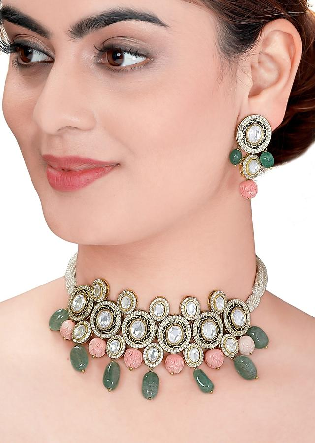 Pink Necklace Set With Polki, Meenakari, Shell Pearls, Coral Beads And Jades In Classic Design Online - Joules By Radhika