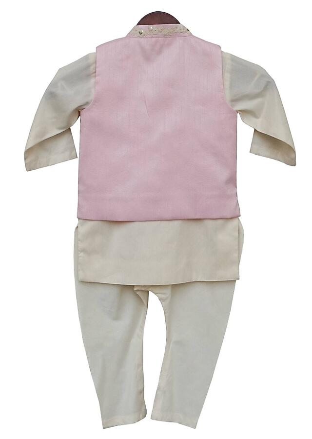 Pink nehru jacket with floral embroidery and off white kurta and churidar By Fayon Kids