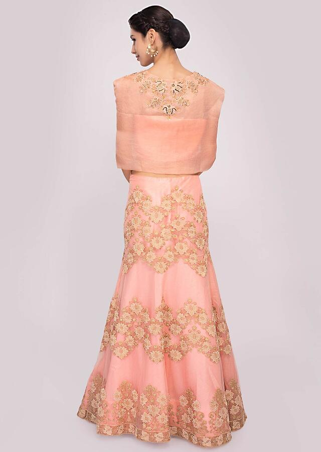 Pink Lehenga In Embroidered Net And Floral Resham Embroidered Fancy Crop Top Online - Kalki Fashion