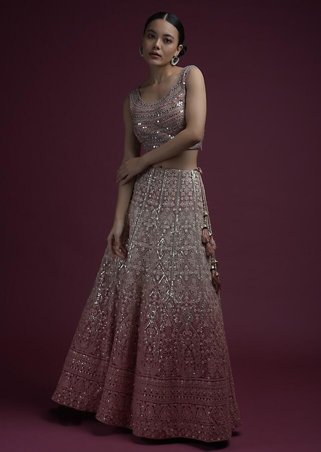 Pink Ombre Lehenga In Georgette With Lucknowi Embroidered Floral Kalis And Mirror Embellished Crop Top Online - Kalki Fashion